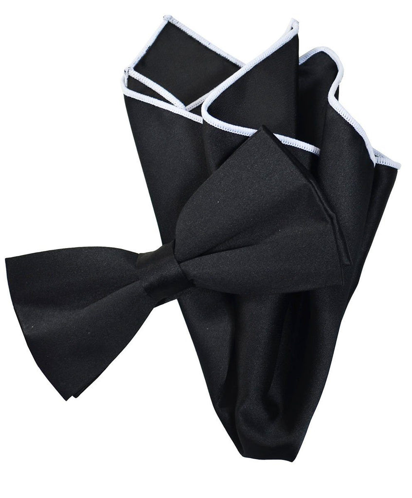 b5cafcbc210f Solid Black Pre-Tied Bow Tie and Pocket Square Paul Malone Bow Ties - Paul  ...
