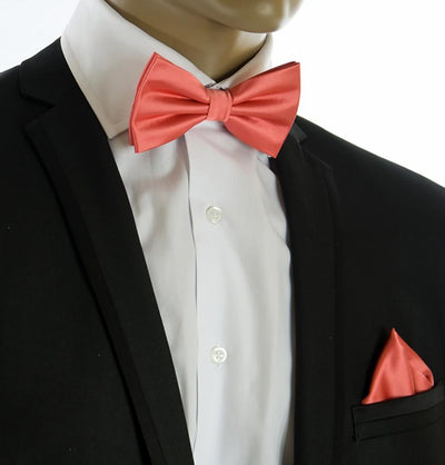 Wedding Bow Tie and Pocket Square Set in Coral PaulMalone.com Bow Ties - Paul Malone.com