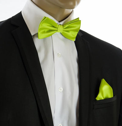 Solid Summer Green Bow Tie and Pocket Square Set $15 Ties Bow Ties - Paul Malone.com