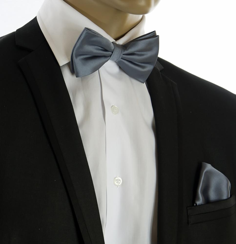 Classic Grey Wedding Bow Tie and Pocket Square Set $15 Ties Bow Ties - Paul Malone.com