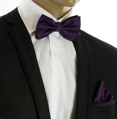 Solid Crown Jewel Bow Tie and Pocket Square Set $15 Ties Bow Ties - Paul Malone.com