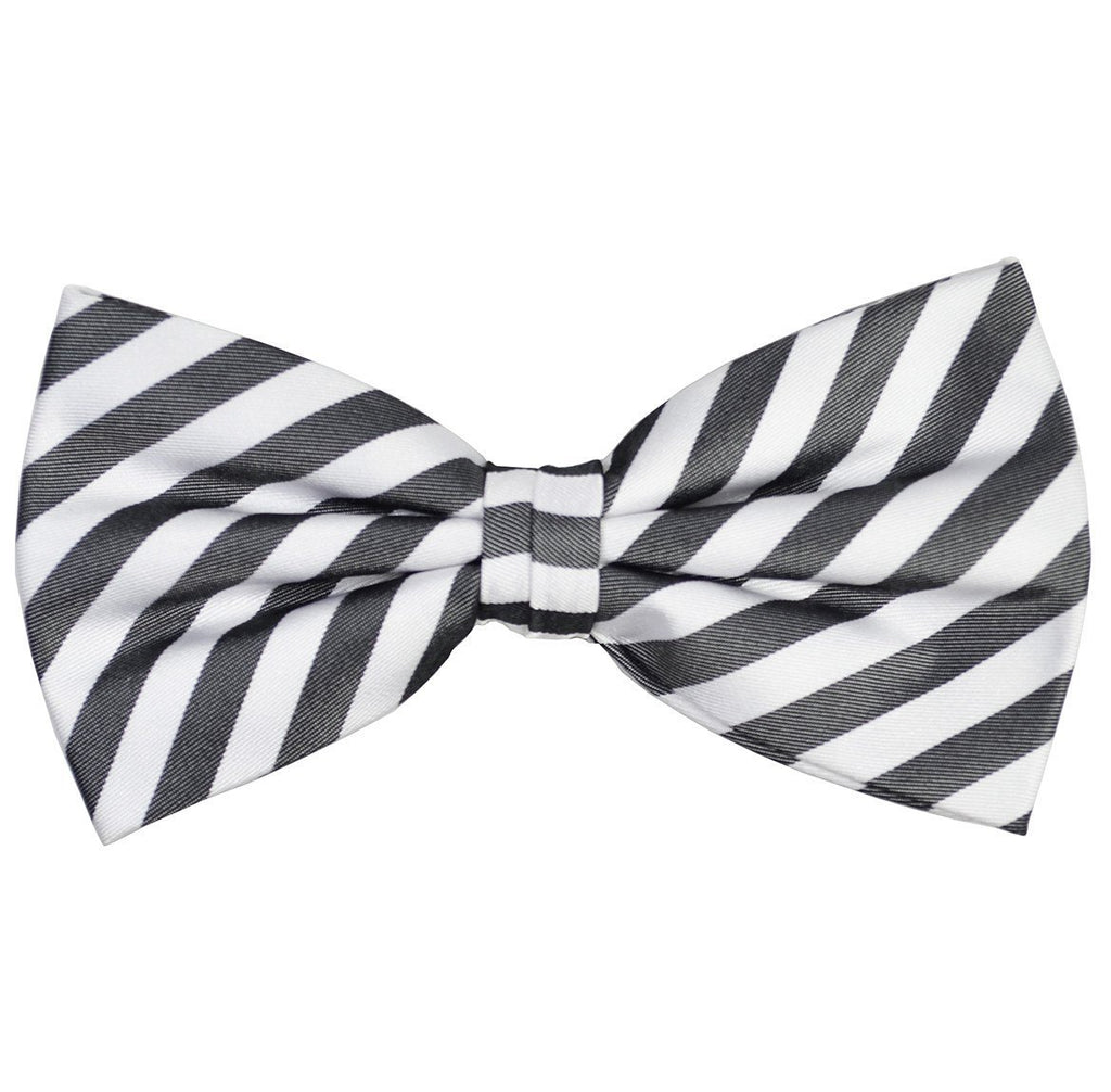Black and White Striped Silk Bow Tie