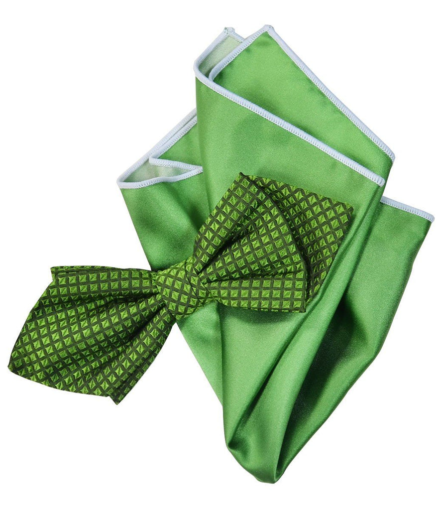 Green Silk Bow Tie and Pocket Square Paul Malone Ties - Paul Malone.com