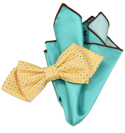 Yellow Silk Bow Tie and Pocket Square Paul Malone Ties - Paul Malone.com