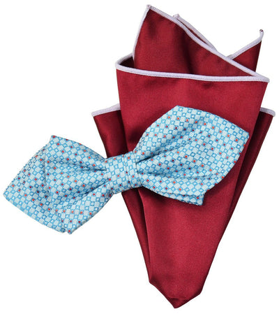 Blue Silk Bow Tie and Pocket Square Paul Malone Ties - Paul Malone.com