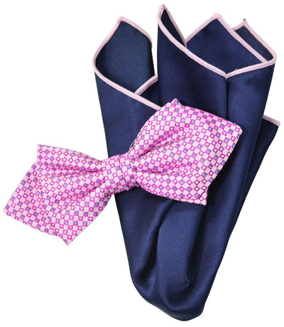 Pink Silk Bow Tie and Pocket Square Paul Malone Ties - Paul Malone.com