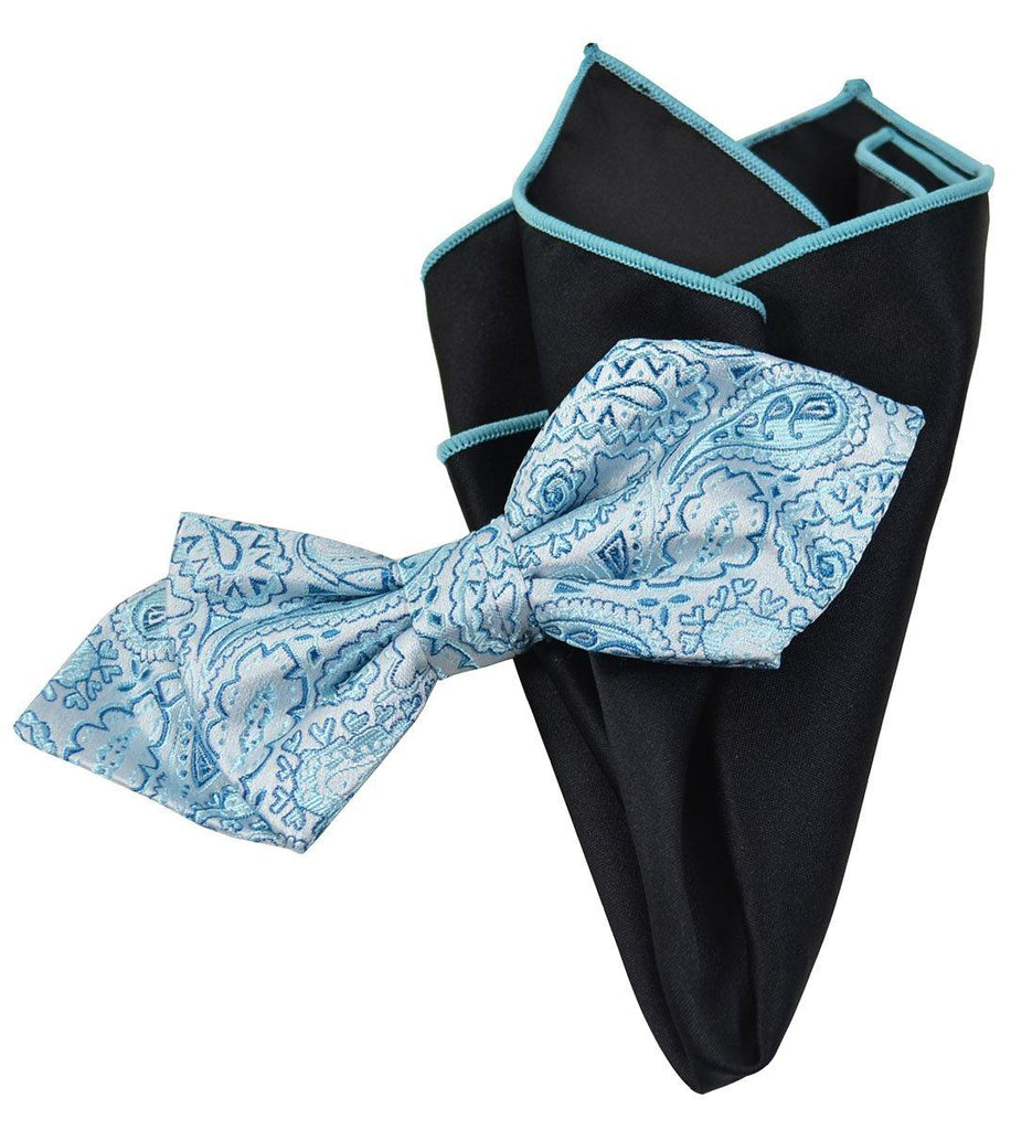 Blue Paisley Silk Bow Tie and Pocket Square Paul Malone Ties - Paul Malone.com