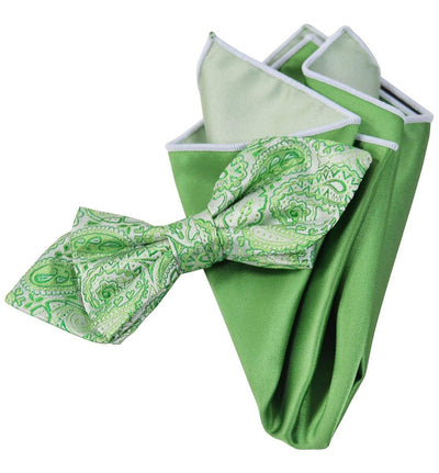 Green Paisley Silk Bow Tie and Pocket Square Paul Malone Ties - Paul Malone.com