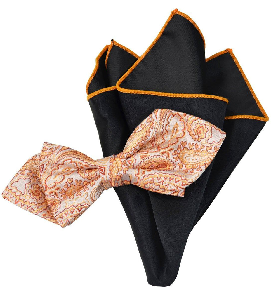 Orange Paisley Silk Bow Tie and Pocket Square Paul Malone Ties - Paul Malone.com