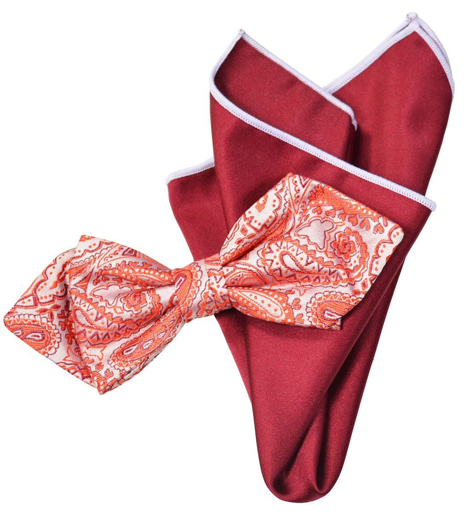 Paul Malone Silk Bow Tie Red Paisley