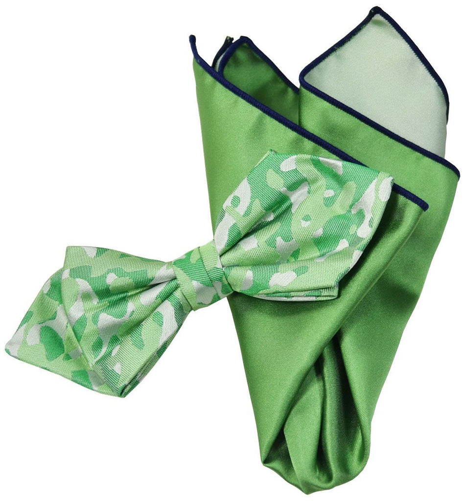 Green Camouflage Silk Bow Tie and Pocket Square Paul Malone Ties - Paul Malone.com