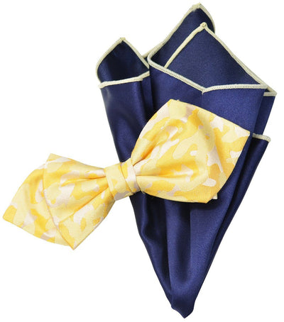 Yellow Camouflage Silk Bow Tie and Pocket Square Paul Malone Ties - Paul Malone.com
