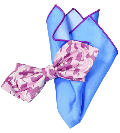 Purple Camouflage Silk Bow Tie and Pocket Square Paul Malone Ties - Paul Malone.com