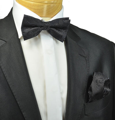 Classic Black Paisley Bow Tie and Pocket Square Paul Malone Bow Ties - Paul Malone.com
