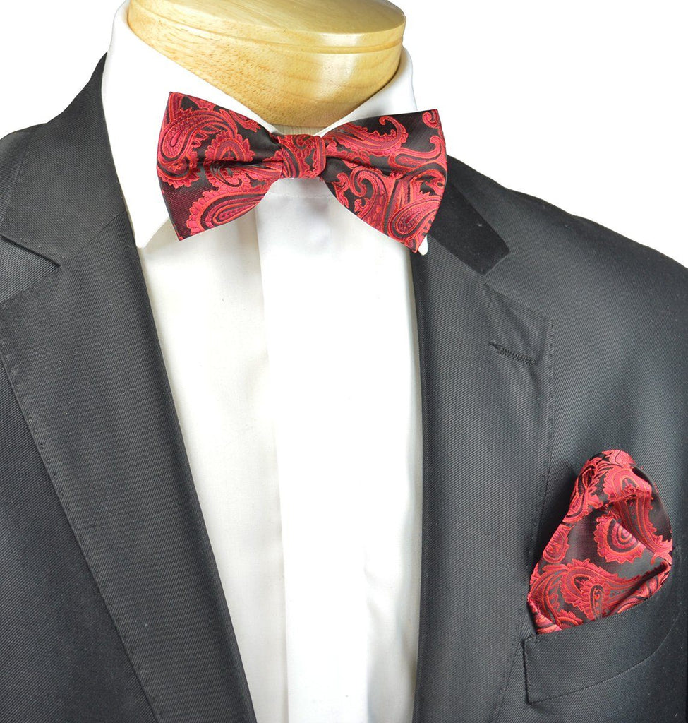 Red and Black Paisley Bow Tie Set Paul Malone Bow Ties - Paul Malone.com