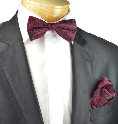 Black and Burgundy Paisley Bow Tie Set Paul Malone Bow Ties - Paul Malone.com