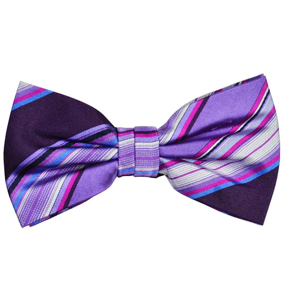 Purple Striped Silk Bow Tie Paul Malone Bow Ties - Paul Malone.com