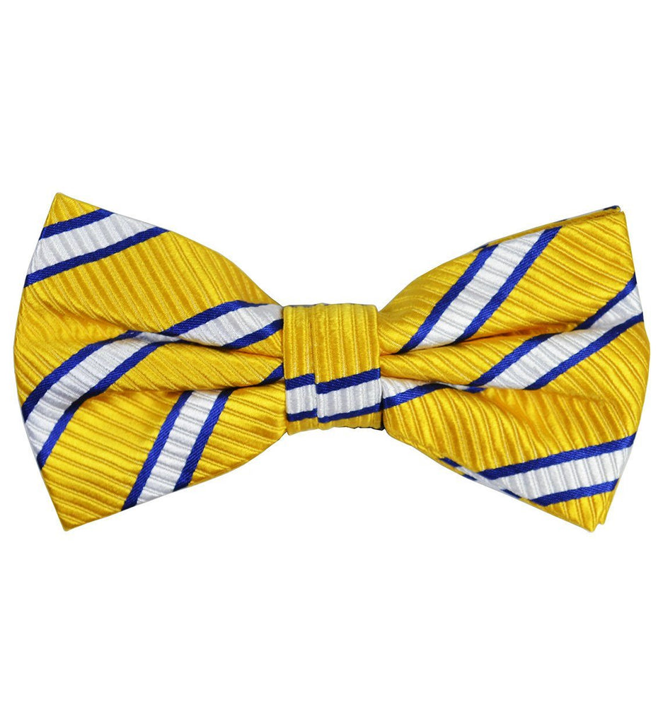 Yellow and Blue Striped Silk Bow Tie and Pocket Square Paul Malone Bow Ties - Paul Malone.com