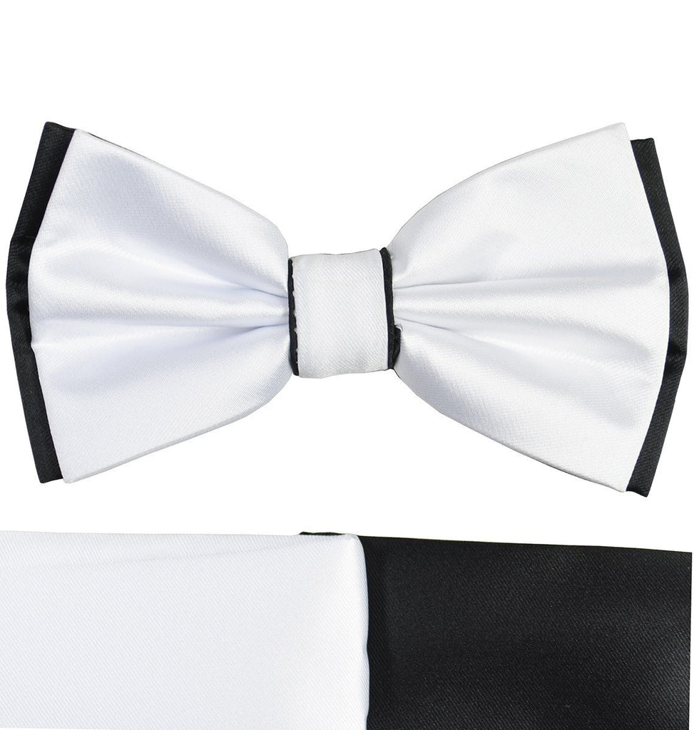 White and Black Bow Tie with 2 Pocket Squares Paul Malone Bow Ties - Paul Malone.com