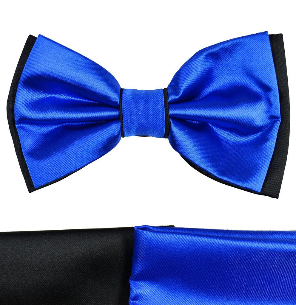 Royal Blue and Black Bow Tie with 2 Pocket Squares Paul Malone Bow Ties - Paul Malone.com