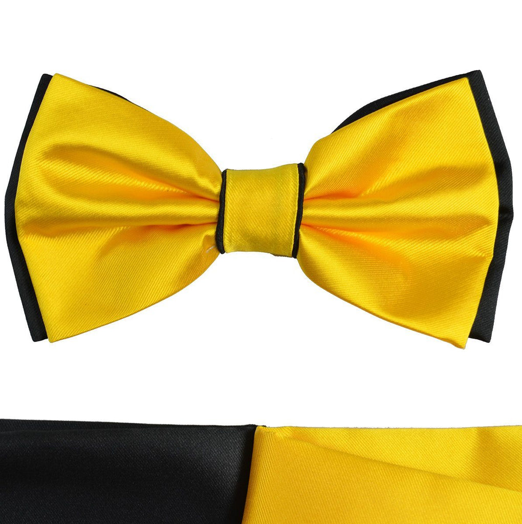 Yellow and Black Bow Tie with 2 Pocket Squares Paul Malone Bow Ties - Paul Malone.com