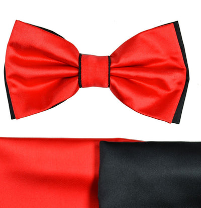 Red and Black Bow Tie with 2 Pocket Squares Paul Malone Bow Ties - Paul Malone.com