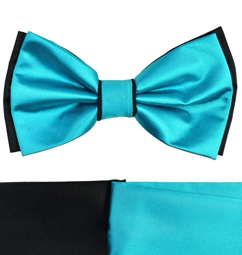 Turquoise and Black Bow Tie with 2 Pocket Squares Paul Malone Bow Ties - Paul Malone.com