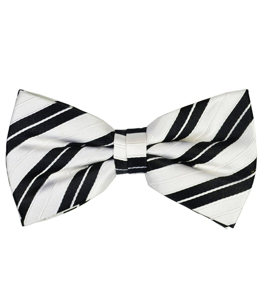 White and Black Striped Silk Bow Tie Bow Ties Paul Malone