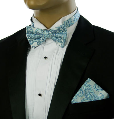 Turquoise Paisley Silk Bow Tie and Pocket Square Set Paul Malone Bow Ties - Paul Malone.com