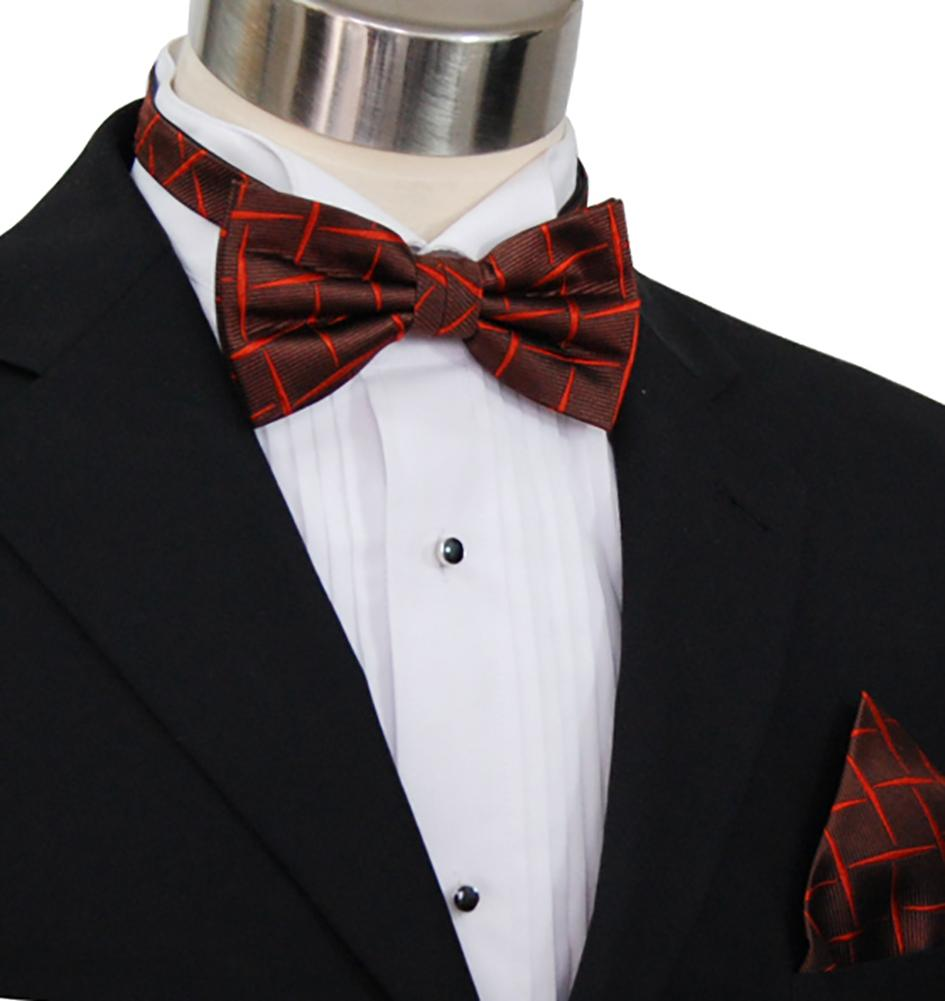 Rust Brown Silk Bow Tie and Pocket Square Set Paul Malone Bow Ties - Paul Malone.com