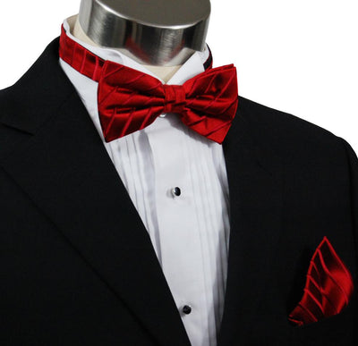 Solid Red Silk Bow Tie and Pocket Square Paul Malone Bow Ties - Paul Malone.com