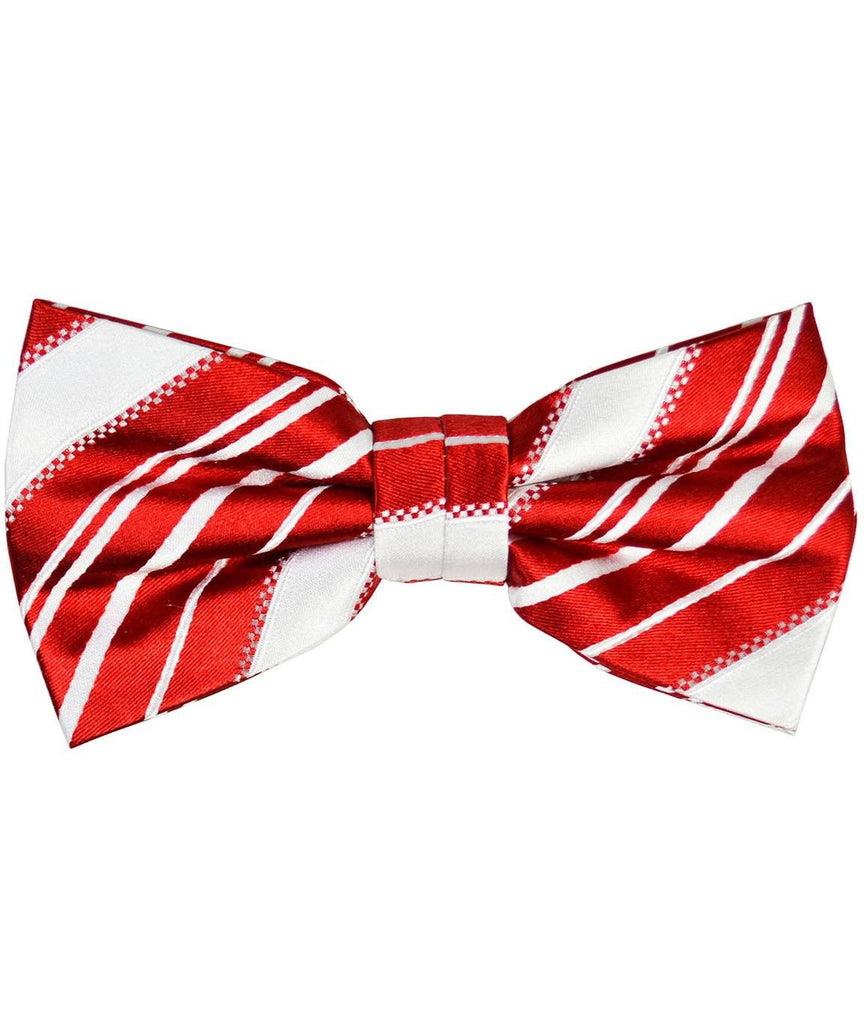 Red and White Striped Silk Bow Tie and Pocket Square Paul Malone Bow Ties - Paul Malone.com