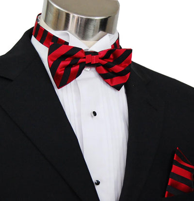 Red and Black Striped Silk Bow Tie Set Paul Malone Bow Ties - Paul Malone.com
