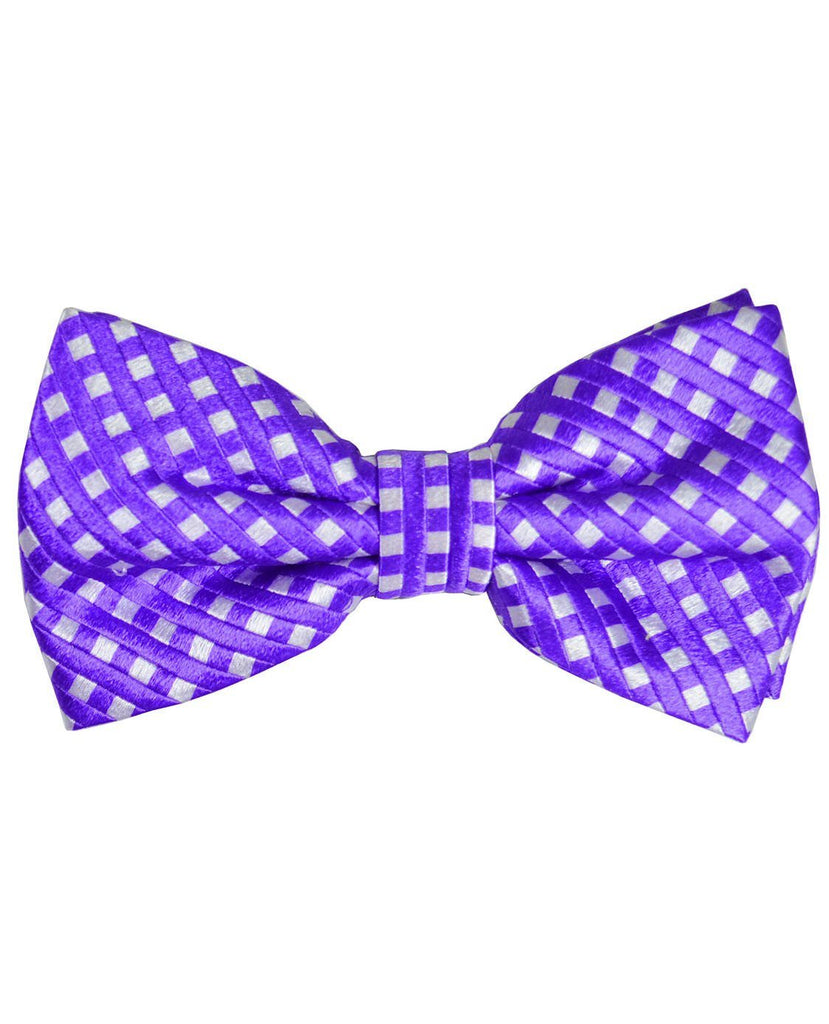 Purple Checkered Silk Bow Tie Paul Malone Bow Ties - Paul Malone.com