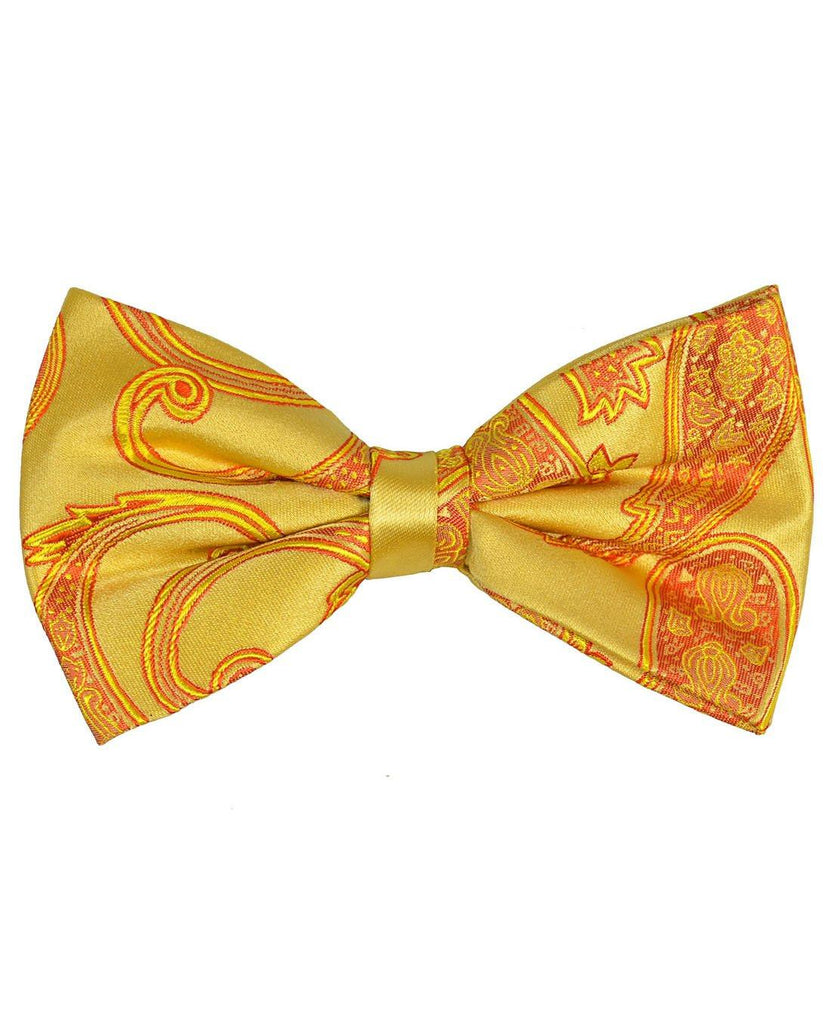 Gold Paisley Silk Bow Tie Paul Malone Bow Ties - Paul Malone.com