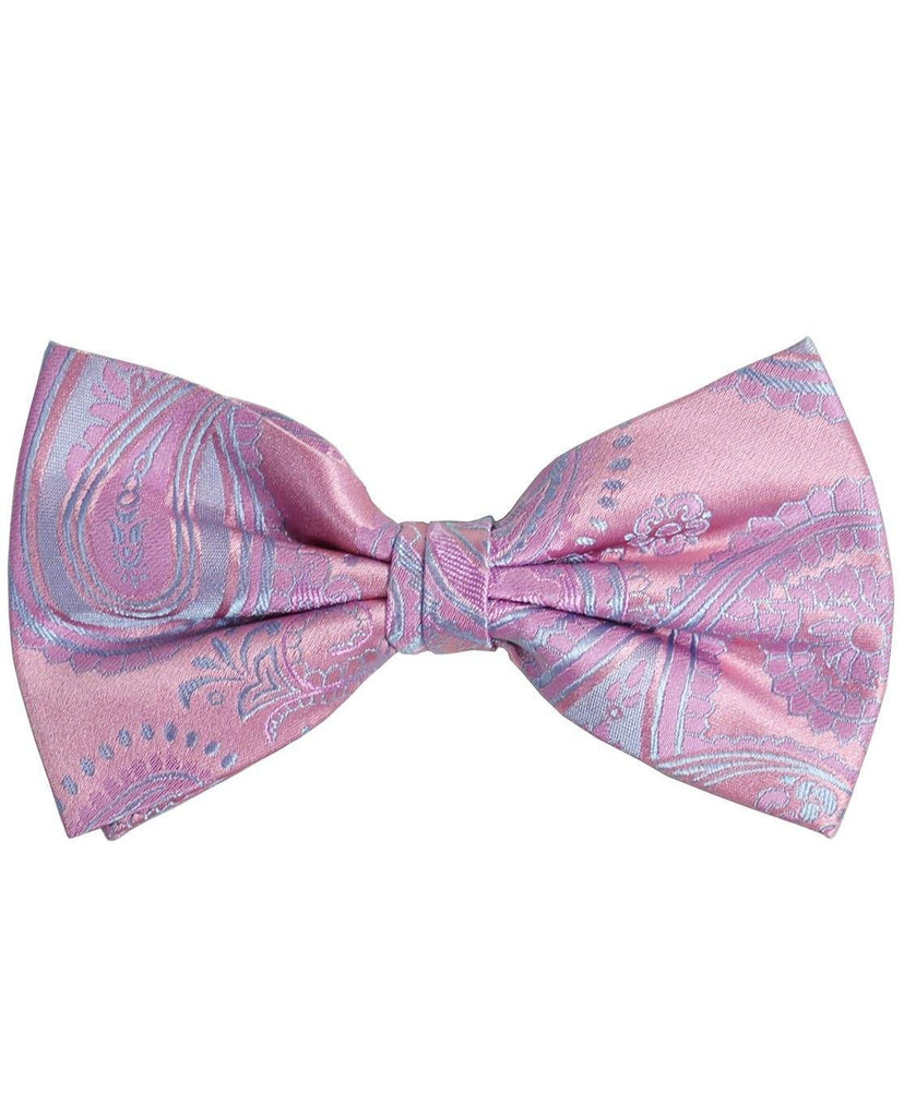Paul Malone Silk Bow Tie Solid Pink
