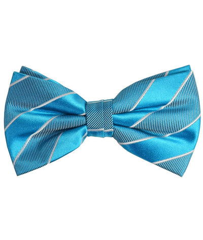 Teal Striped Silk Bow Tie Paul Malone Bow Ties - Paul Malone.com
