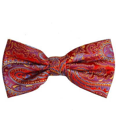 Red and Yellow Paisley Silk Bow Tie Paul Malone Bow Ties - Paul Malone.com