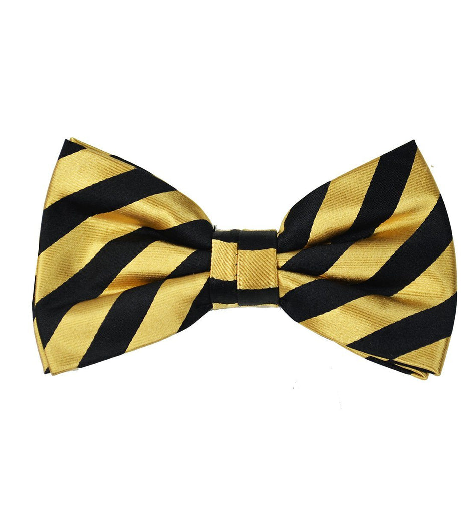 Gold and Black Striped Silk Bow Tie Paul Malone Bow Ties - Paul Malone.com