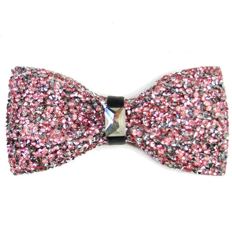 White and Black Striped Silk Bow Tie