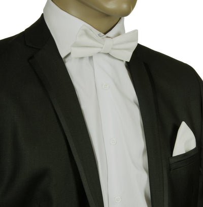 White VELVET Bow Tie and Pocket Square Set $15 Ties Bow Ties - Paul Malone.com