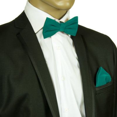 Solid Teal VELVET Bow Tie and Pocket Square Set Brand Q Bow Ties - Paul Malone.com