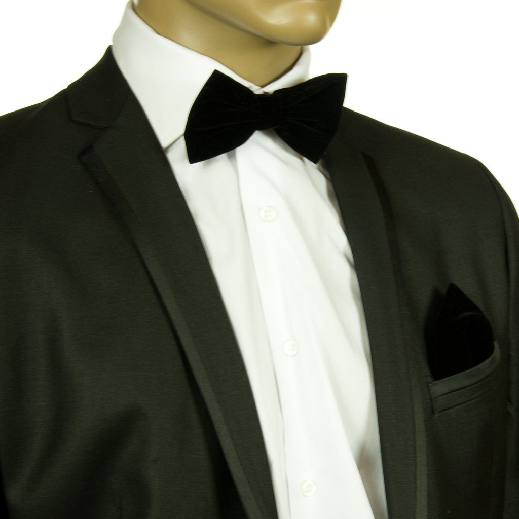 Black VELVET Bow Tie and Pocket Square Set Bow Ties Brand Q