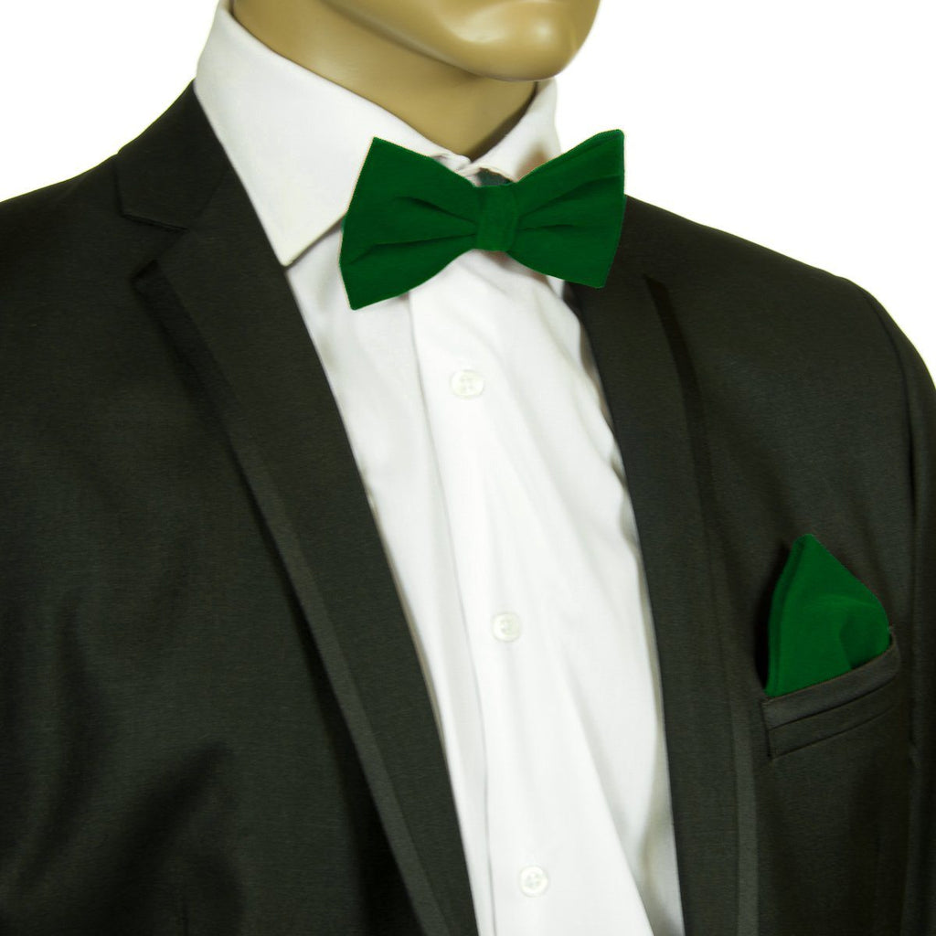 fd9f049bc6d6 Dark Green VELVET Bow Tie and Pocket Square Set Brand Q Bow Ties - Paul  Malone ...