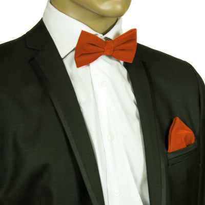 Burnt Orange VELVET Bow Tie and Pocket Square Set Brand Q Bow Ties - Paul Malone.com