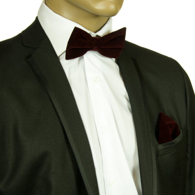 Brown VELVET Bow Tie and Pocket Square Set Brand Q Bow Ties - Paul Malone.com