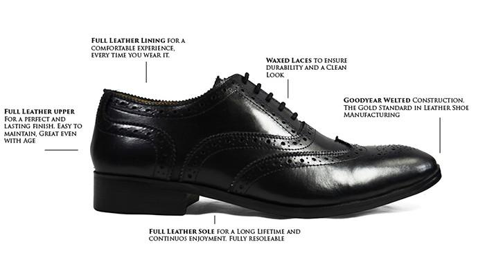 BERKLEY Full Brogue Derby in Black. All Leather Dress Shoes Shoes Paul Malone