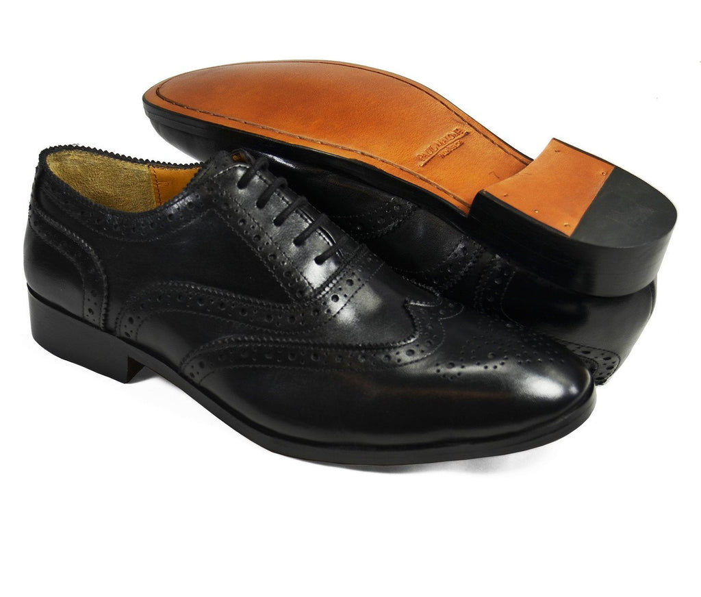 BERKLEY Full Brogue Derby in Black. All Leather Dress Shoes Paul Malone Shoes - Paul Malone.com