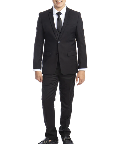 Solid Black Boys Suit Set with Vest, Tie and Shirt Perry Ellis Suits - Paul Malone.com