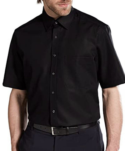 Solid Black Poplin Short Sleeve Dress Shirt Modena Shirts - Paul Malone.com